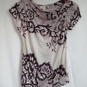 Anthropologie Draping Lace Print Knit Top XS